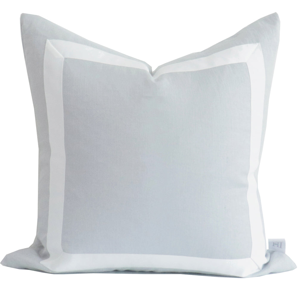 Light Gray Organic Linen Pillow with White Ribbon Trim