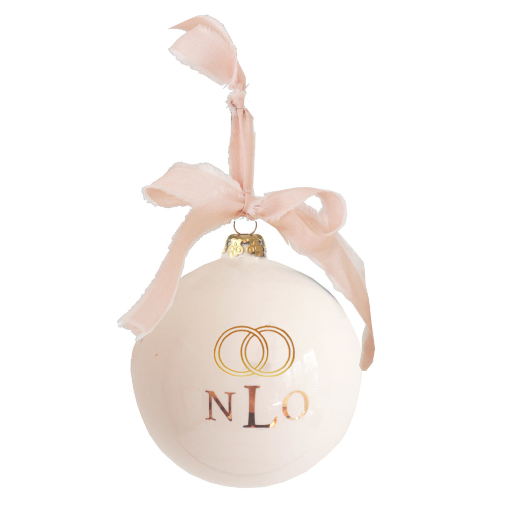 Monogrammed Keepsake Ornament- Wedding with Simple Bands