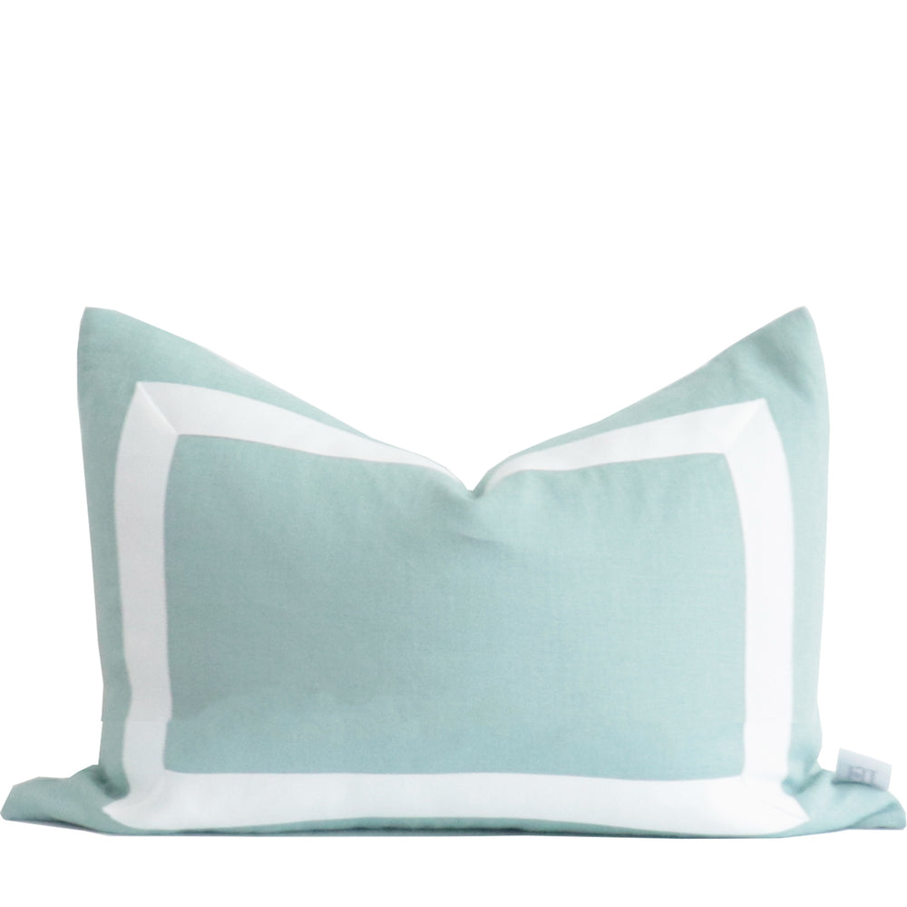 Lake Blue Organic Linen Pillow with White Ribbon Trim