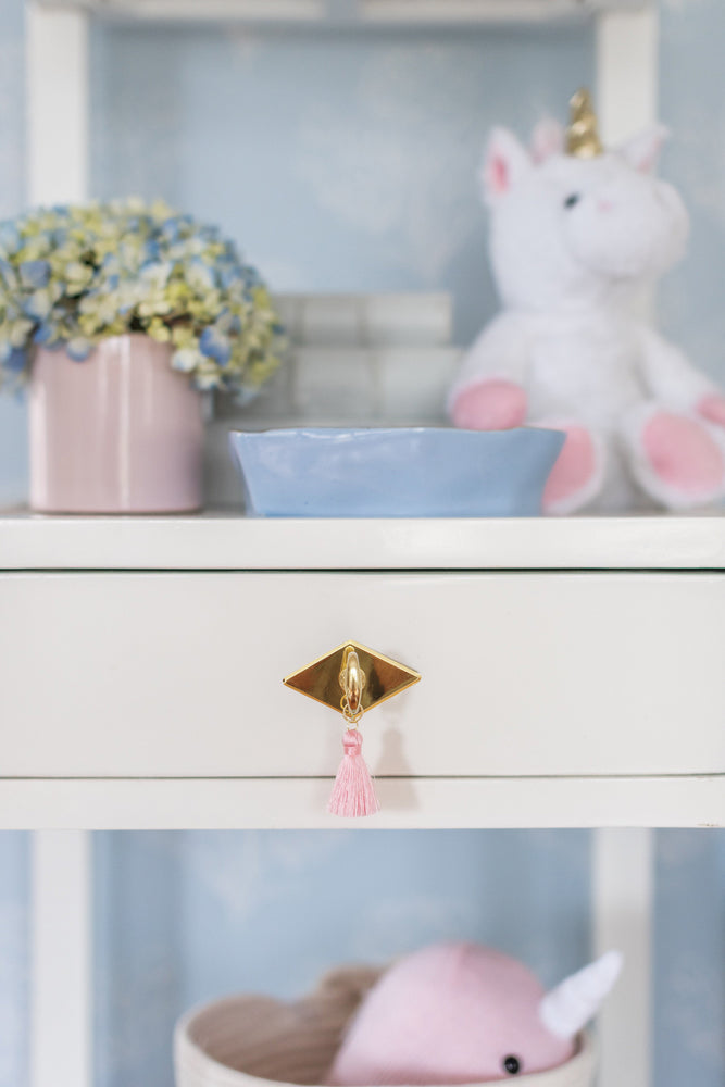 "The ""Diamond"" Brass Drawer Pull with Custom Tassel"