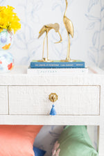 Floral Brass Tassel Drawer Pull - Choose your tassel color