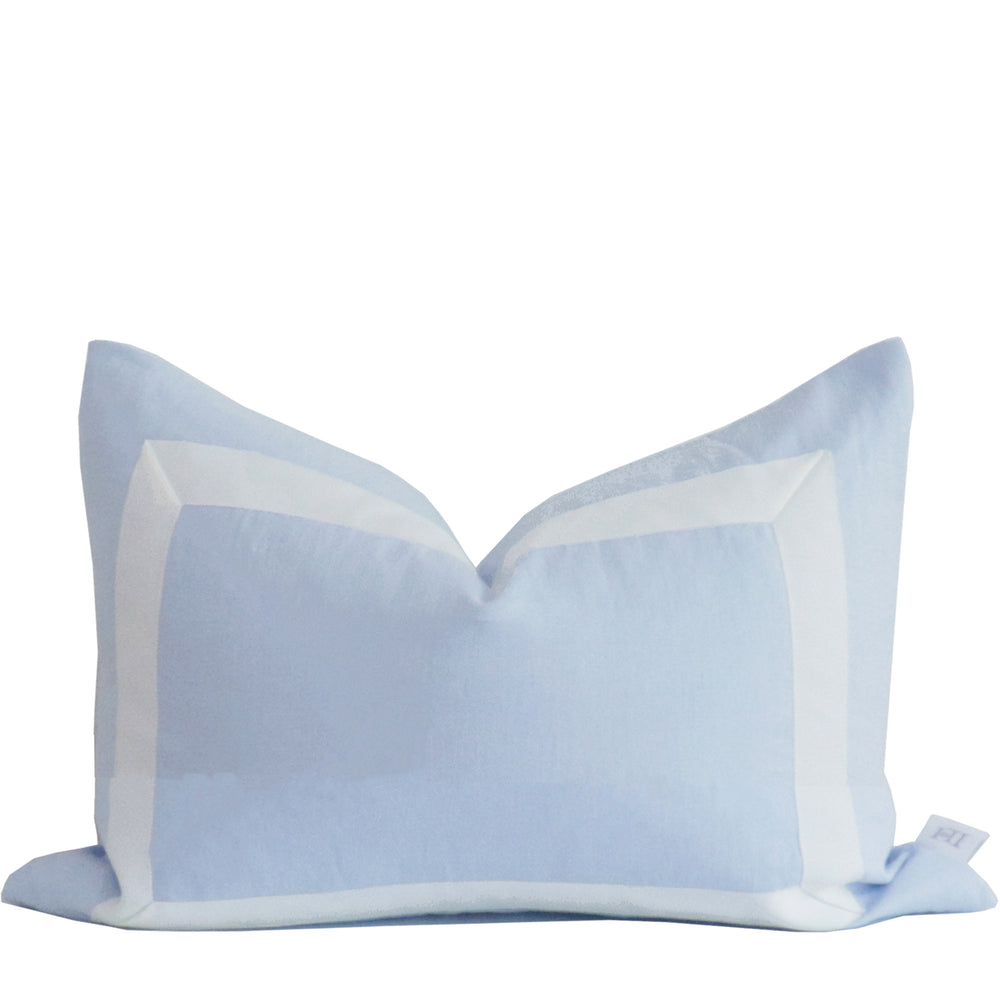 Sky Blue Organic Linen Pillow with White Ribbon Trim