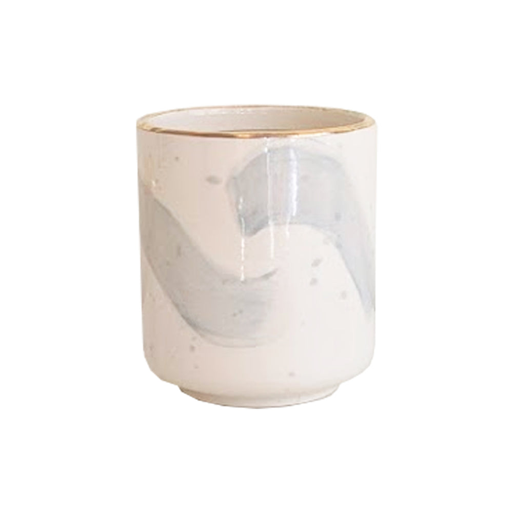 Light Gray Brushstroke Candle Holder/ Vase and Refillable Candle