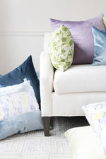 "Silk and Velvet Panel Pillow by Lo Home x Taelor Fisher in ""Water Lilies"" + Hydrangea Blue"
