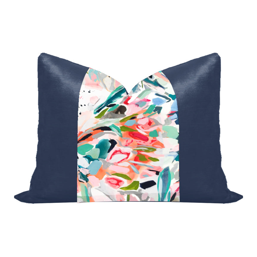 "Silk and Velvet Panel Pillow by Lo Home x Taelor Fisher in ""Farm Girl"" + Navy"