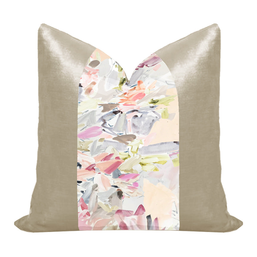 "Silk and Velvet Panel Pillow by Lo Home x Taelor Fisher in ""Garden"" + Dune"