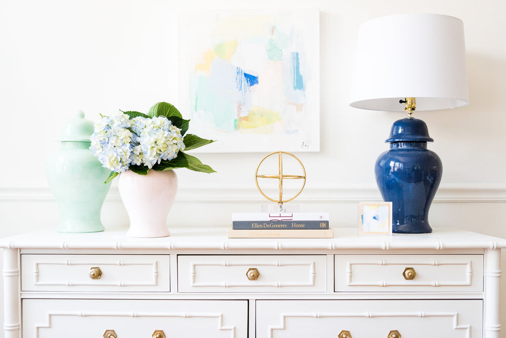 Navy Blue Hand-Painted Ginger Jar Lamp