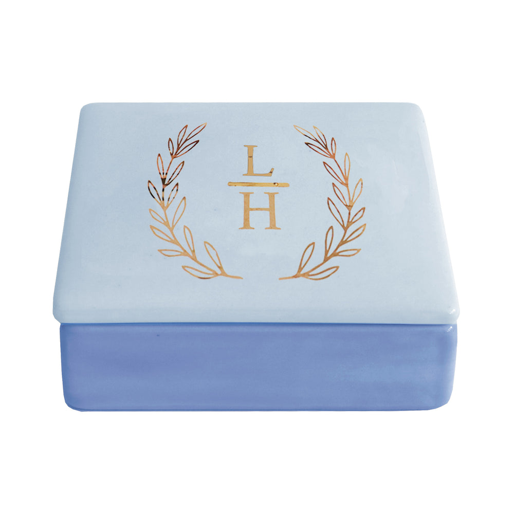 Laurel Wreath Monogram Two-Tone Box