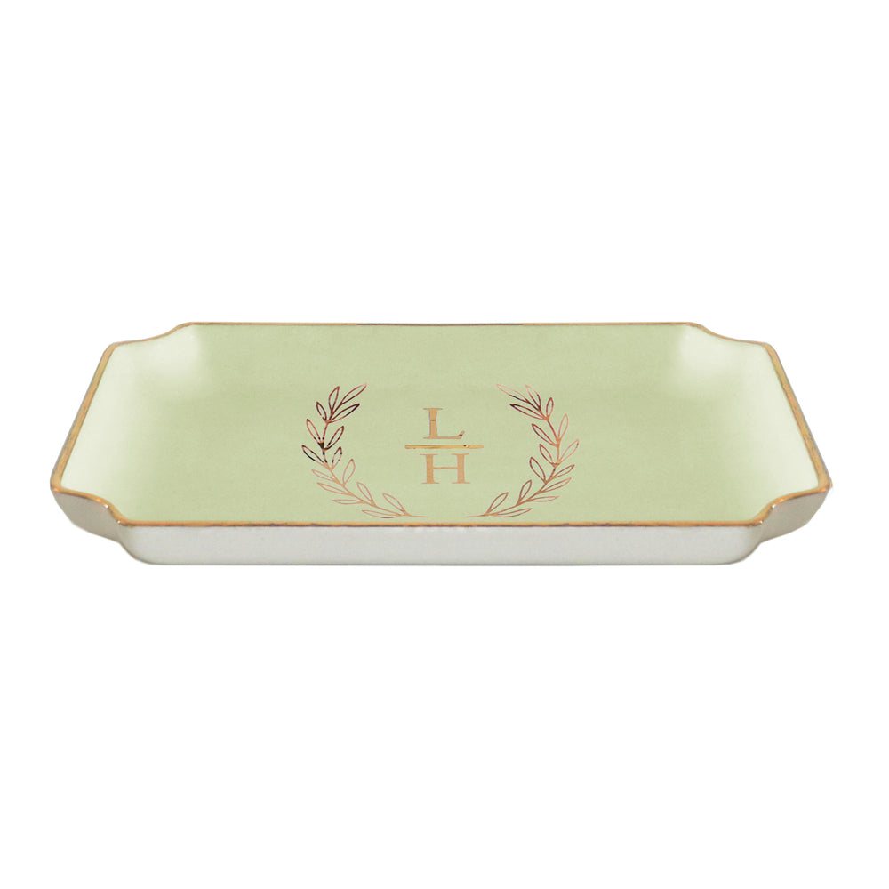 Laurel Wreath Monogram Trays with Gold Accent