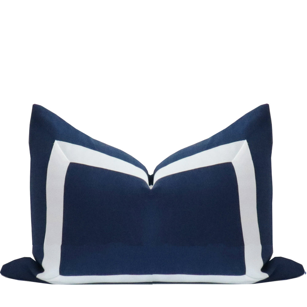 Navy Blue Organic Linen Pillow with White Ribbon Trim