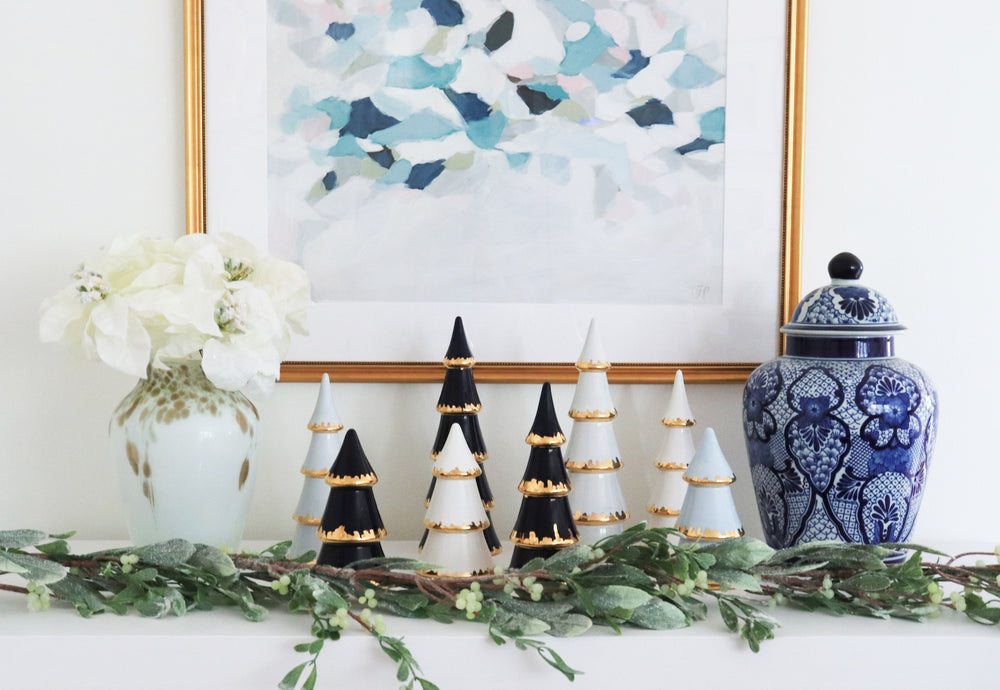 Navy Blue Christmas Trees with Gold Brushstroke Accent