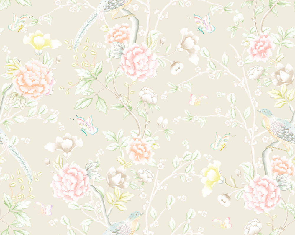 """Chinoiserie Garden"" Wallpaper in Dune by Lo Home x Tashi Tsering"