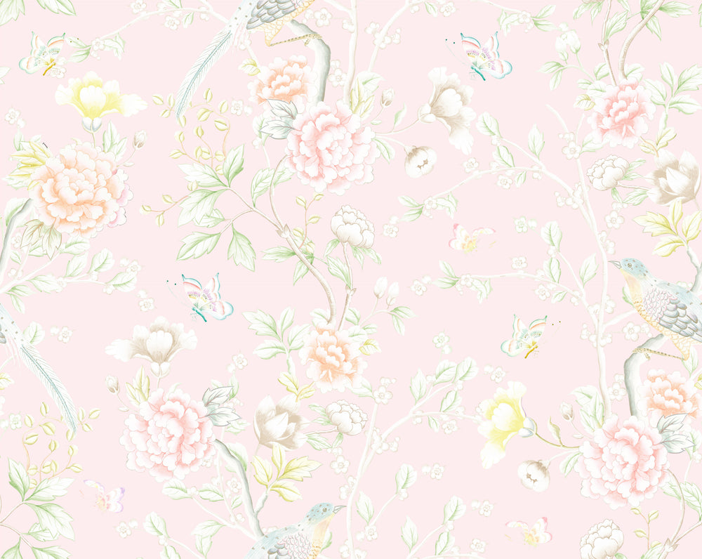 """Chinoiserie Garden"" Wallpaper in Blush by Lo Home x Tashi Tsering"