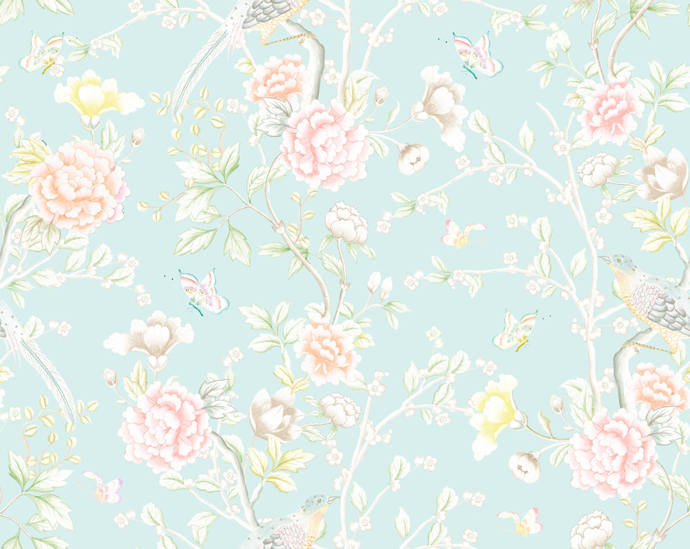 """Chinoiserie Garden"" Wallpaper in Lake by Lo Home x Tashi Tsering"