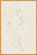 """Chinoiserie Garden 1"" Framed Panel in ""Dune"" by Lo Home X Tashi Tsering"