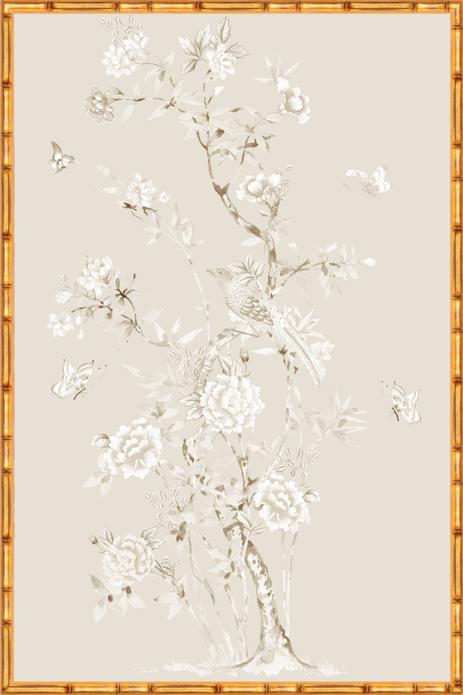 "Monochrome ""Chinoiserie Garden 1"" Framed Panel in ""Dune"" by Lo Home X Tashi Tsering"