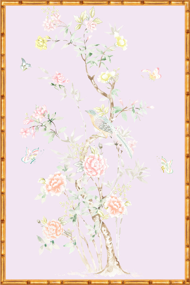 """Chinoiserie Garden 1"" Framed Panel in ""Lilac"" by Lo Home X Tashi Tsering"