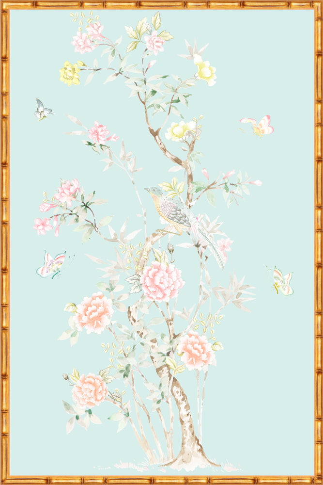 """Chinoiserie Garden 1"" Framed Panel in ""Lake"" by Lo Home X Tashi Tsering"