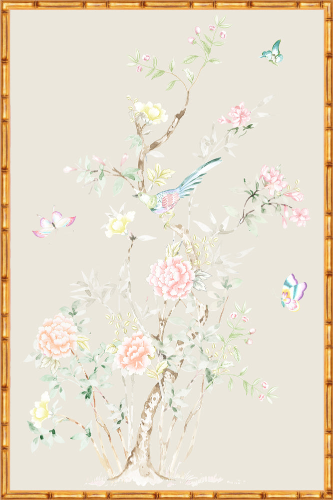 """Chinoiserie Garden 2"" Framed Panel in ""Dune"" by Lo Home X Tashi Tsering"