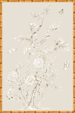 "Monochrome ""Chinoiserie Garden 2"" Framed Panel in ""Dune"" by Lo Home X Tashi Tsering"