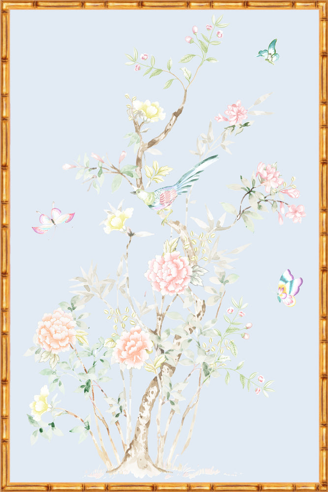 """Chinoiserie Garden 2"" Framed Panel in ""Sky"" by Lo Home X Tashi Tsering"