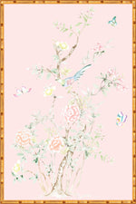"""Chinoiserie Garden 2"" Framed Panel in ""Blush"" by Lo Home X Tashi Tsering"