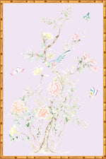 """Chinoiserie Garden 2"" Framed Panel in ""Lilac"" by Lo Home X Tashi Tsering"