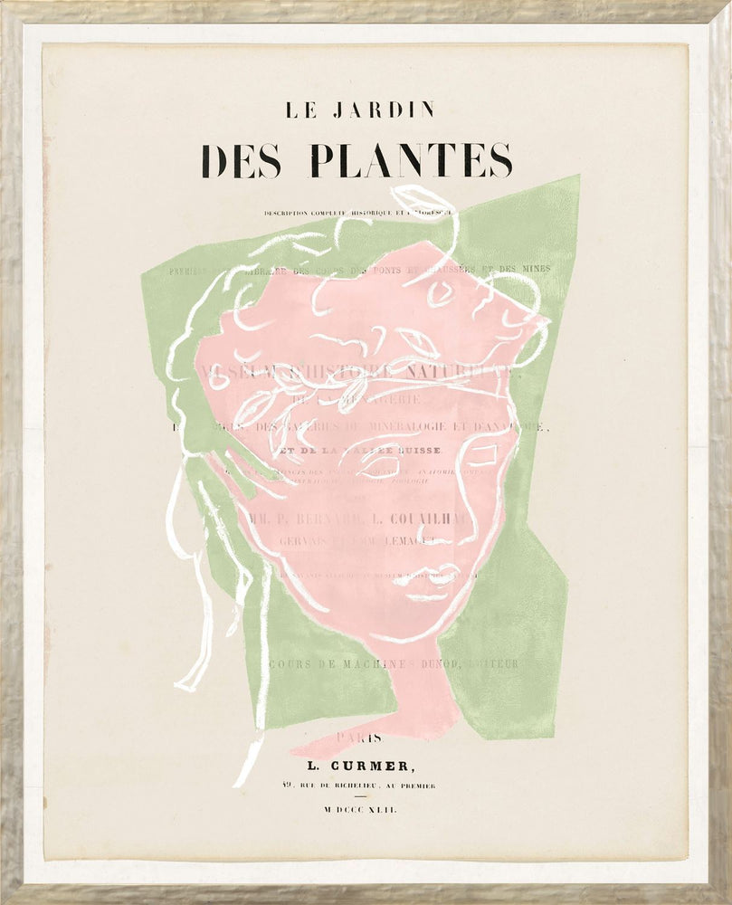 Parisian Page Print 2- Greek Portrait Pink and Green