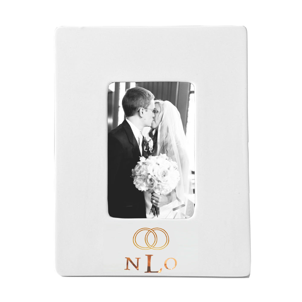 Wedding Keepsake Monogrammed Photo Frame with Simple Bands