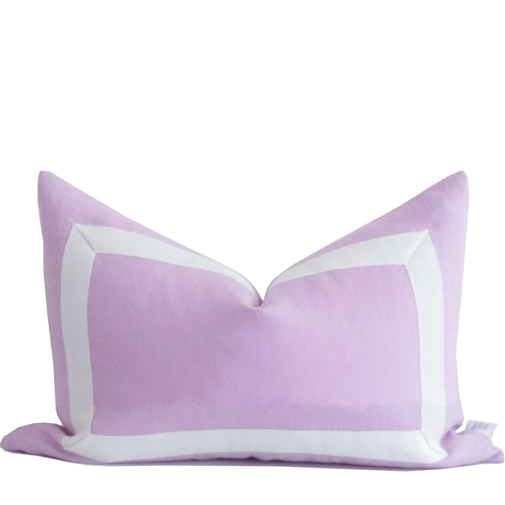Lavender Organic Linen Pillow with White Ribbon Trim