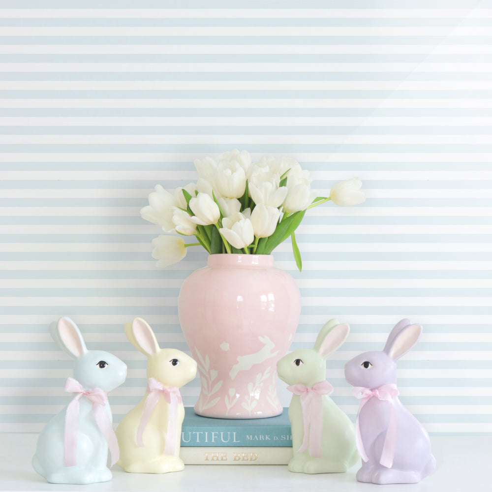 """Bunnies at Play"" Ginger Jars in Cherry Blossom Pink"