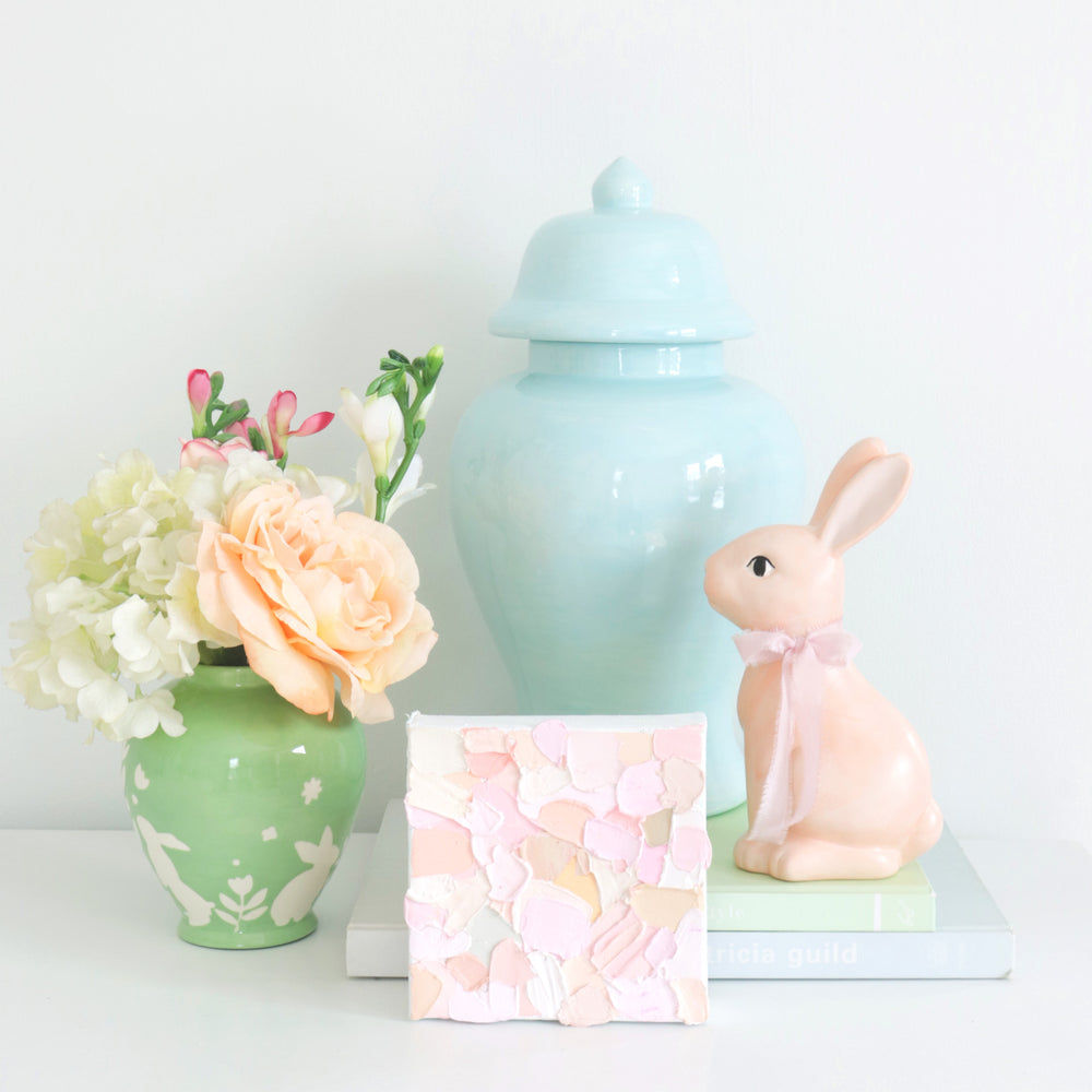 """Bunnies at Play"" Ginger Jars in Cabbage Patch Green"