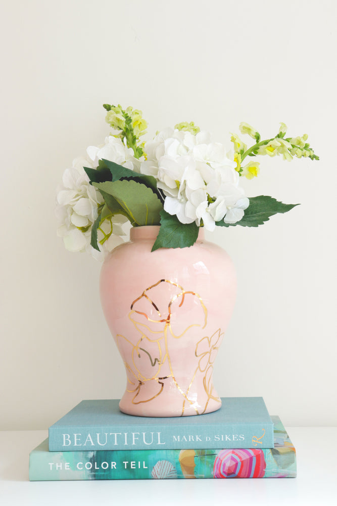 Cherry Blossom Pink Ginger Jar with Gold Floral Accent