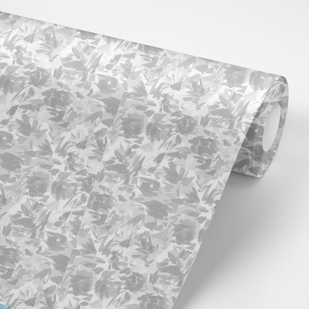 """Floralie"" by Lo Home x Taelor Fisher Wallpaper in Gray"