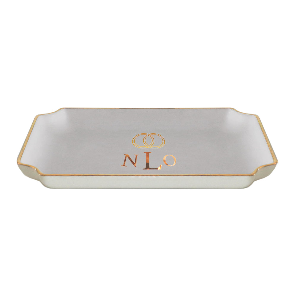 Wedding Keepsake Monogrammed Tray with Simple Bands