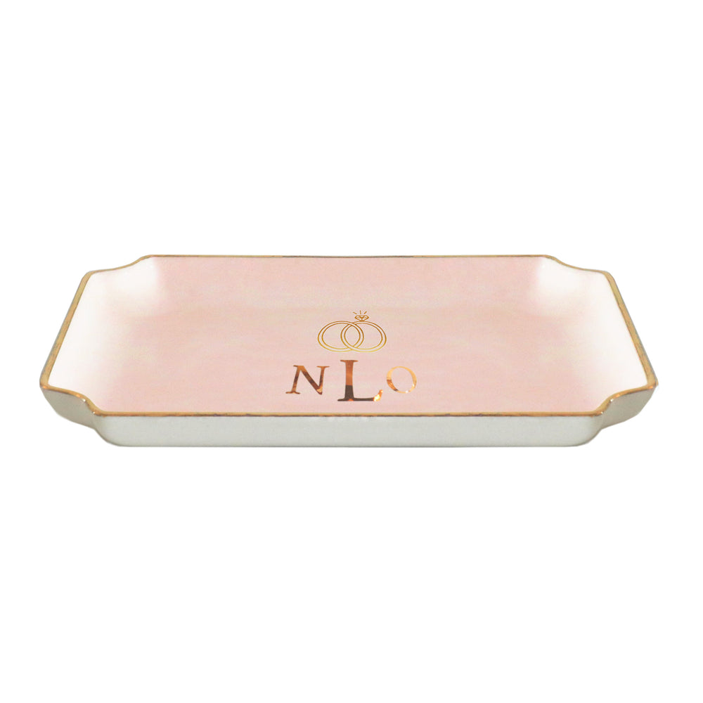 Wedding Keepsake Monogrammed Tray with Diamond Ring