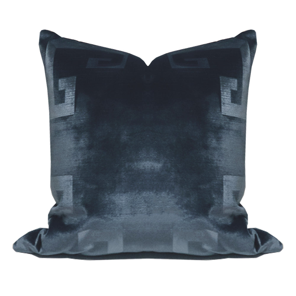 Ink Blue Velvet Greek Key Pillow