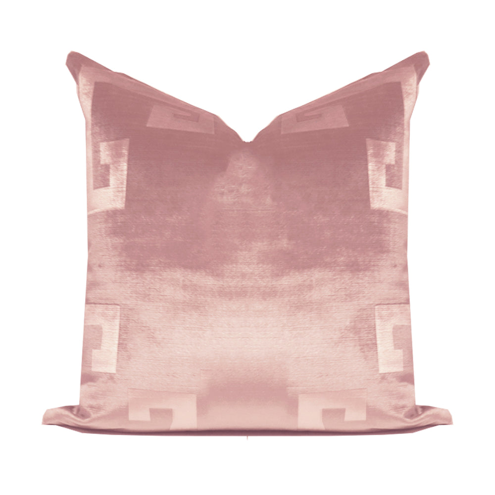 Cherry Blossom Velvet Greek Key Pillow