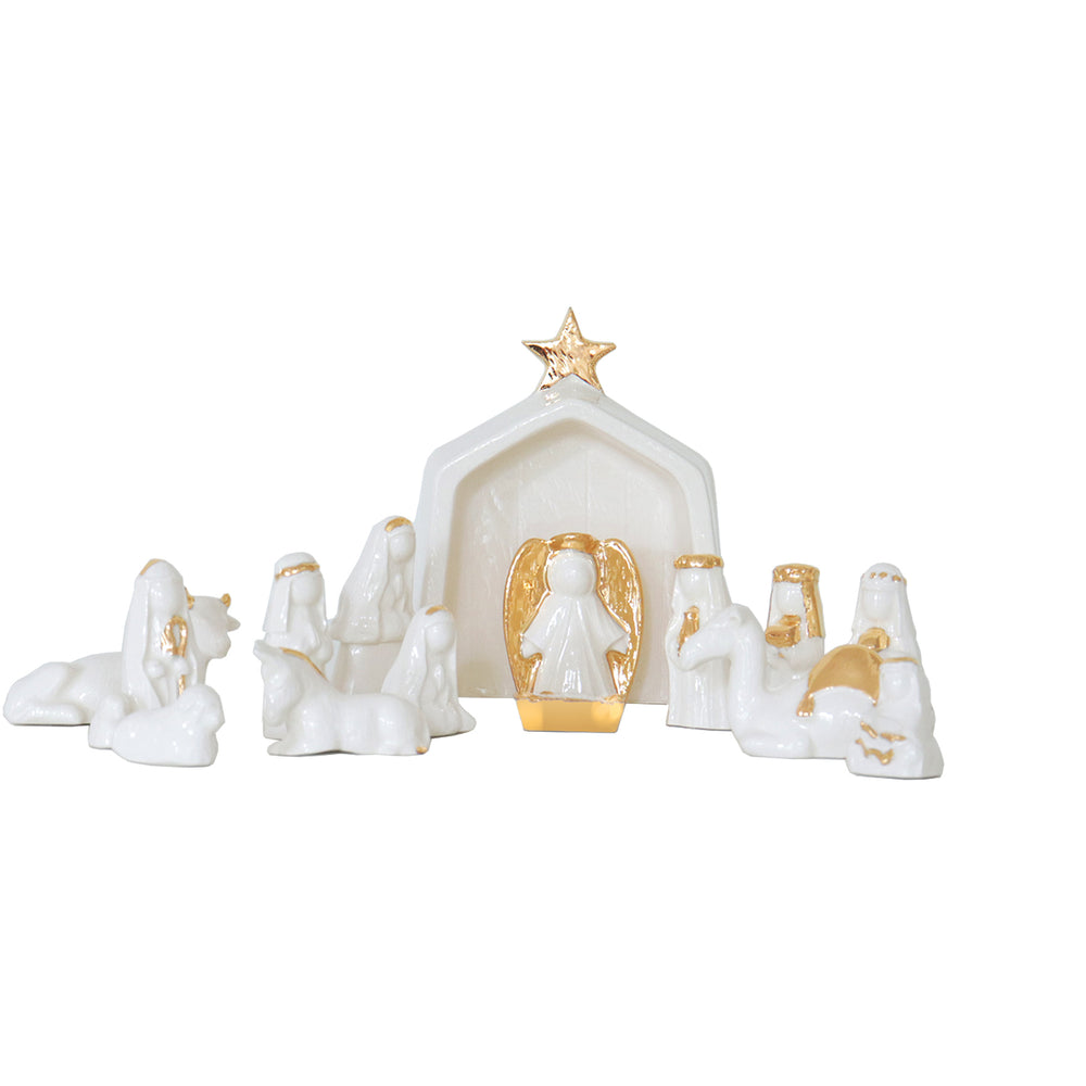 White Hand-Crafted 14 Piece Nativity Set with 22K Gold Accents