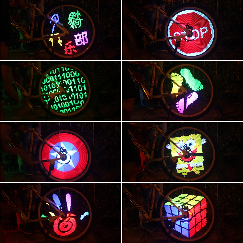 Programmable Bicycle Lights 128 LED Bike Wheel Spokes Light Screen Display Image For Night Cycling