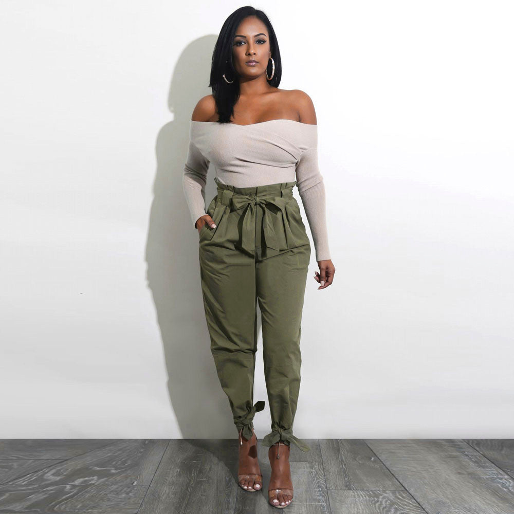 651587f61e46f3 Womens Belted High Waist Trousers Ladies Party Casual Pants – TeStylez
