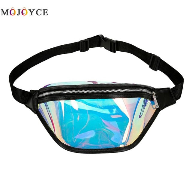 720b793ae392 Chic Clear PVC Laser Hologram Reflective Fanny Pack Women Zipper ...