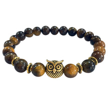 Load image into Gallery viewer, Men & Women Lava Stone Bead Volcanic Gold Owl Bracelet