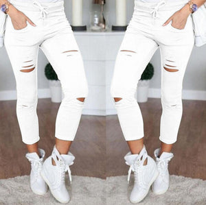 Women Skinny Jeans Holes Destroyed Knee Pencil Pants Casual Trousers Black White Stretch Ripped Jeans