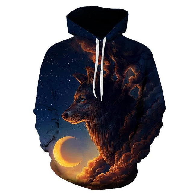 Men Night Guardian Wolf Novelty Casual Hoodie
