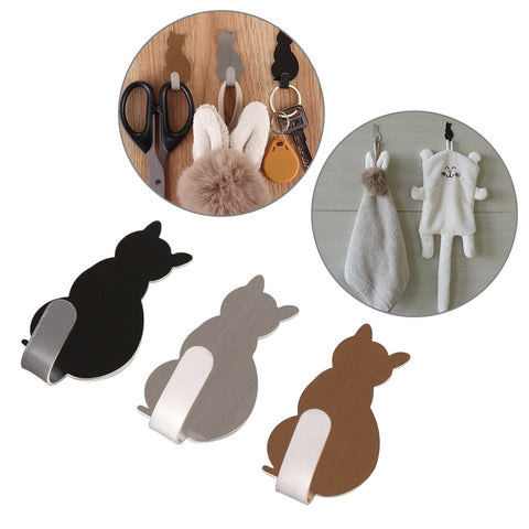 2pcs Self Adhesive Cat Pattern Hooks Storage