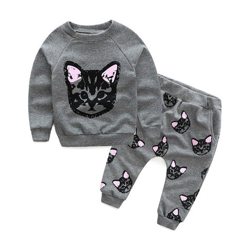 New Spring Summer Children's Suit Girls Tie Cat