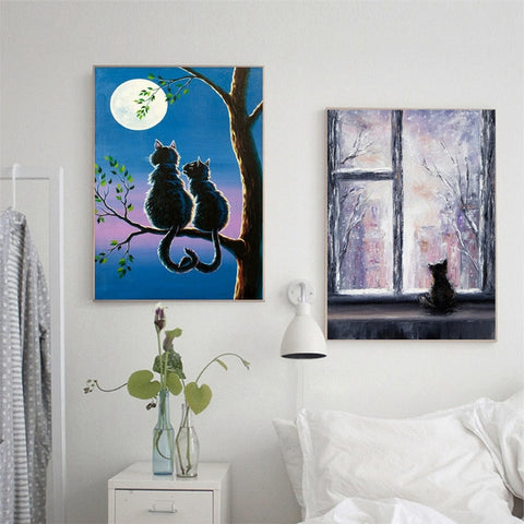 Oil Painting Cat Prints Wall Art Pictures Home