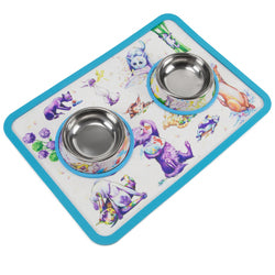Cat-titude Cat Bowls and Mat