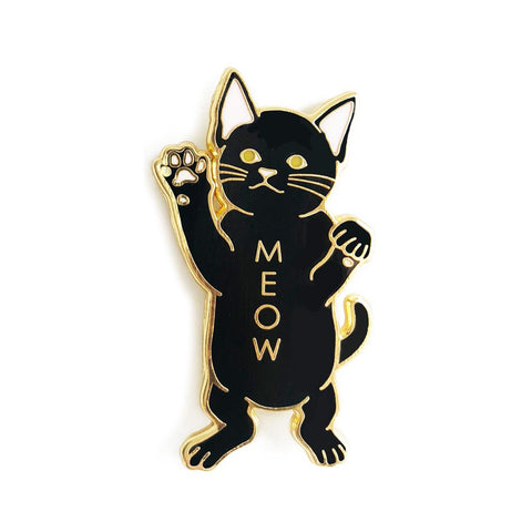 Black Cat Meow Enamel Pin